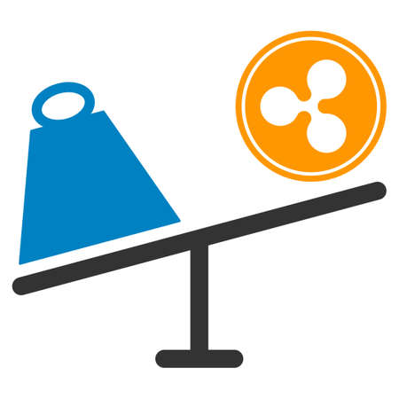 Ripple Coin Trade Swing flat raster illustration. An isolated icon on a white background. Фото со стока