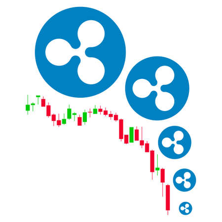 Ripple Deflation Chart flat raster illustration. An isolated icon on a white background. Stock Photo