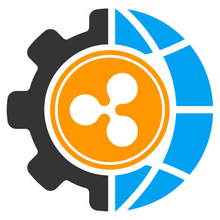 Ripple World Industry flat raster icon. An isolated icon on a white background.