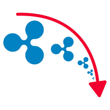 Ripple Reduce Trend flat raster pictogram. An isolated icon on a white background.