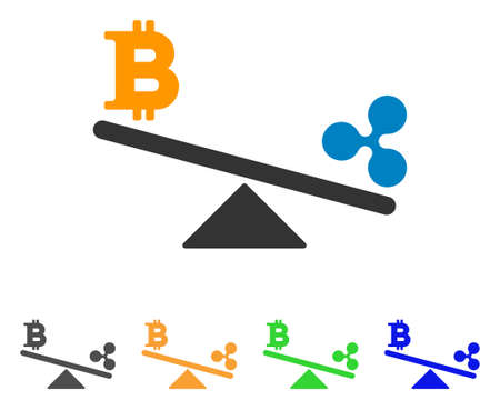 Bitcoin Ripple Swing Balance icon. Vector illustration style is a flat iconic bitcoin ripple swing balance symbol with gray, yellow, green, blue color variants.