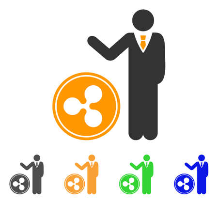 Businessman show ripple coin icon. Vector illustration style is a flat iconic businessman show ripple coin symbol with gray, yellow, green, blue color variants. Illustration