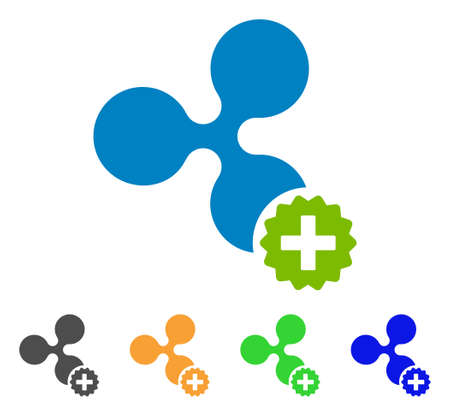 Create ripple icon. Vector illustration style is a flat iconic create ripple symbol with gray, yellow, green, blue color versions. Designed for web and software interfaces.