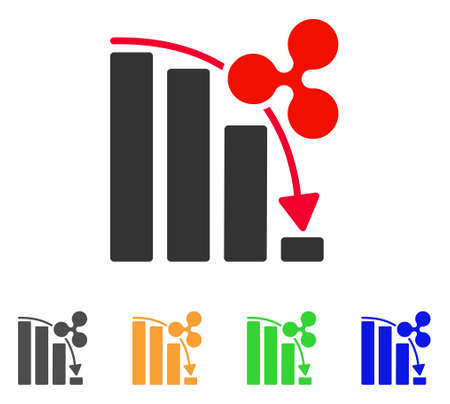 Ripple fail down chart icon. Vector illustration style is a flat iconic ripple fail down chart symbol with gray, yellow, green, blue color versions. Designed for web and software interfaces.