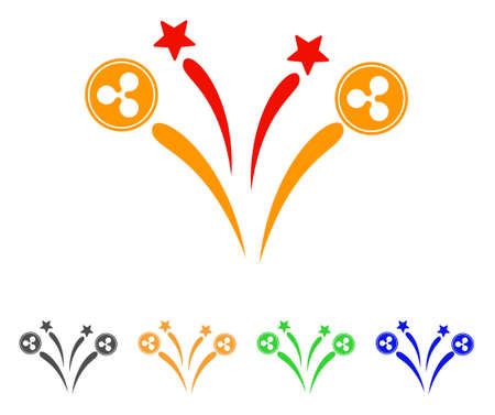 Ripple fireworks icon. Vector illustration style is a flat iconic ripple fireworks symbol with gray, yellow, green, blue color versions. Designed for web and software interfaces.