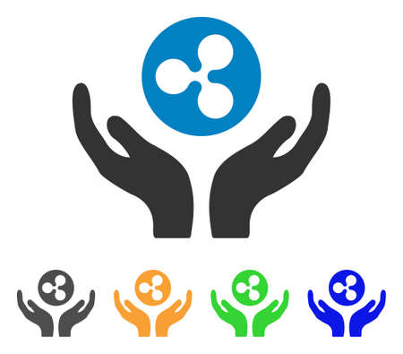 Ripple maintenance hands icon. Vector illustration style is a flat iconic ripple maintenance hands symbol with grey, yellow, green, blue color versions. Designed for web and software interfaces.