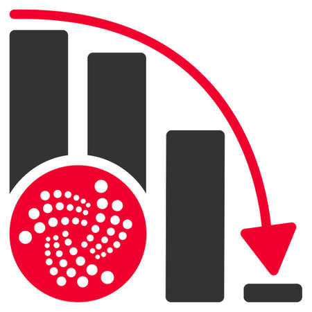 Iota Down Chart flat vector icon. An isolated icon on a white background.
