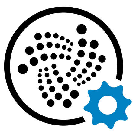 Iota Settings Gear flat vector pictograph. An isolated icon on a white background. Illustration