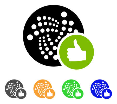 Thumb Up Iota icon. Vector illustration style is a flat iconic thumb up iota symbol with gray, yellow, green, blue color versions. Designed for web and software interfaces. Illustration