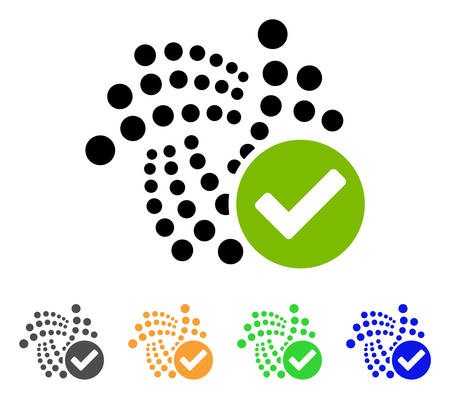 Valid Iota icon. Vector illustration style is a flat iconic valid iota symbol with grey, yellow, green, blue color variants. Designed for web and software interfaces.