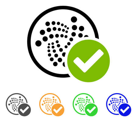 Accept Iota icon. Vector illustration style is a flat iconic accept iota symbol with gray, yellow, green, blue color variants. Designed for web and software interfaces. Illustration