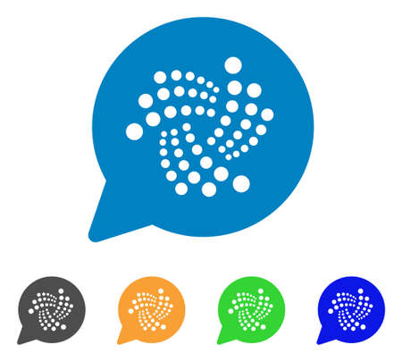 Iota Message Cloud icon. Vector illustration style is a flat iconic iota message cloud symbol with grey, yellow, green, blue color variants. Designed for web and software interfaces.