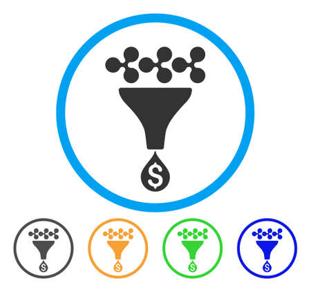 Ripple Dollar Sales Funnel rounded icon. Style is a flat gray symbol inside light blue circle with bonus colored variants. Ripple Dollar Sales Funnel vector designed for web and software interfaces.