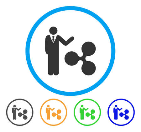 Businessman Show Ripple rounded icon. Style is a flat gray symbol inside light blue circle with additional color versions. Businessman Show Ripple vector designed for web and software interfaces. Illustration