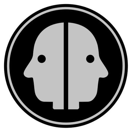 Dual Face black coin icon. Raster style is a flat coin symbol using black and light gray colors. Stok Fotoğraf
