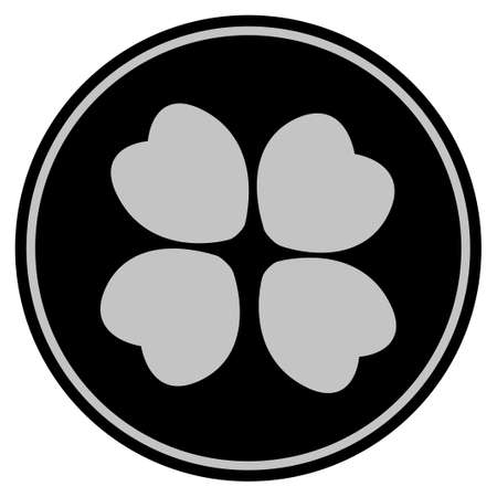 Four-Leafed Clover black coin icon. Raster style is a flat coin symbol using black and light gray colors. Stock Photo