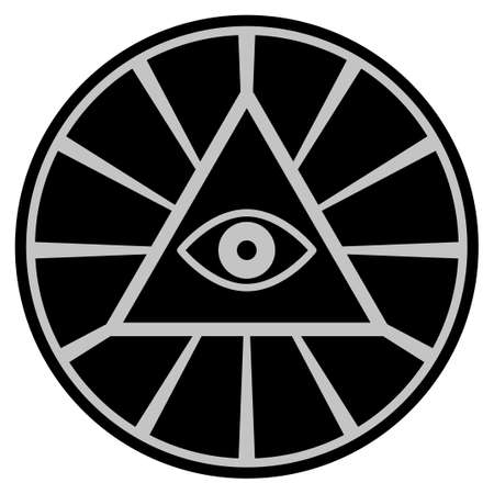Pyramid Eye black coin icon. Raster style is a flat coin symbol using black and light gray colors.