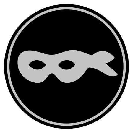 Anonymous Mask black coin icon. Raster style is a flat coin symbol using black and light gray colors.