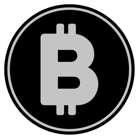 Bitcoin black coin icon. Raster style is a flat coin symbol using black and light gray colors.