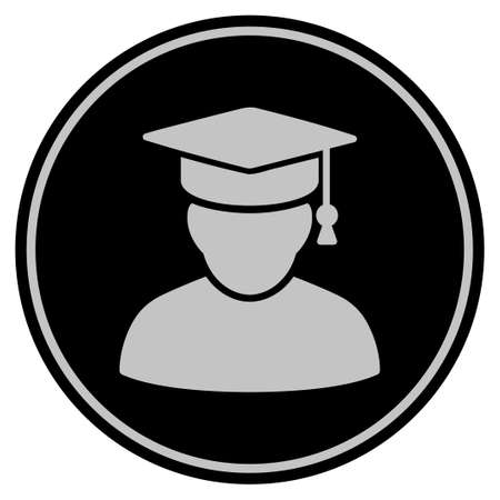 Knowledge Man black coin icon. Raster style is a flat coin symbol using black and light gray colors. Stock Photo