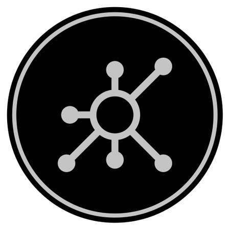 Node black coin icon. Raster style is a flat coin symbol using black and light gray colors.