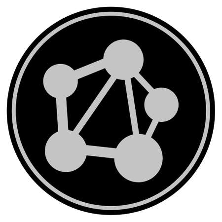 Network black coin icon. Raster style is a flat coin symbol using black and light gray colors. Stock Photo
