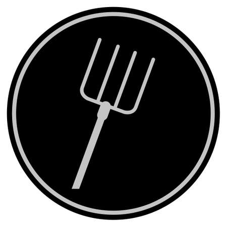 Pitchfork black coin icon. Raster style is a flat coin symbol using black and light gray colors.