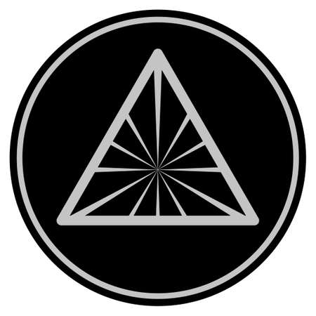 Pyramid Rays black coin icon. Raster style is a flat coin symbol using black and light gray colors.