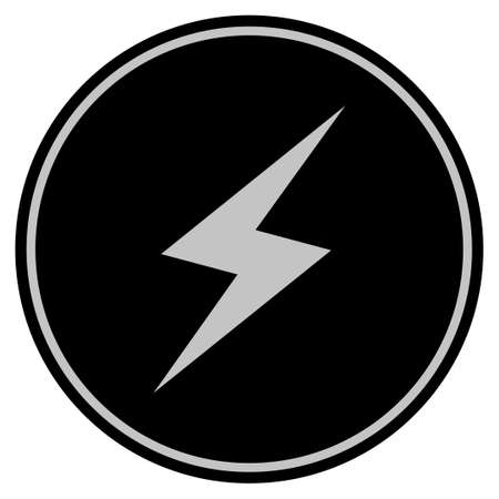 Thunderbolt black coin icon. Raster style is a flat coin symbol using black and light gray colors. Stock Photo