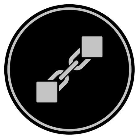 Blockchain black coin icon. Vector style is a flat coin symbol using black and light gray colors.