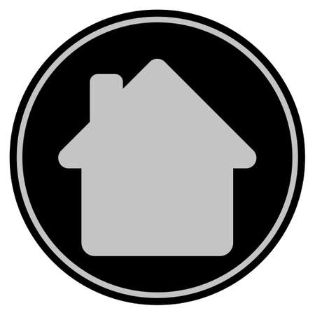 House black coin icon. Vector style is a flat coin symbol using black and light gray colors.