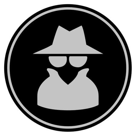 Spy black coin icon. Vector style is a flat coin symbol using black and light gray colors.