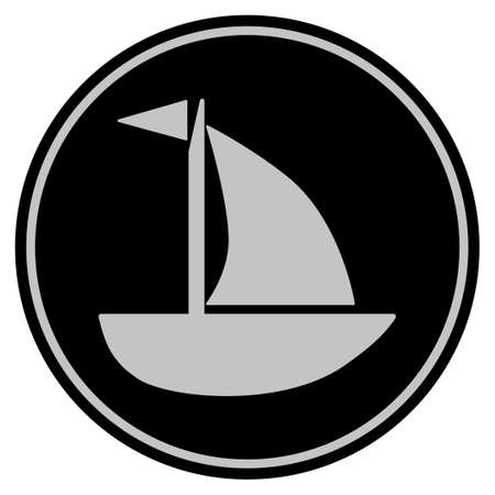 Yacht black coin icon. Vector style is a flat coin symbol using black and light gray colors.