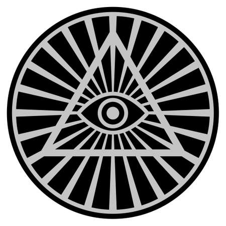 Pyramid Eye black coin icon. Vector style is a flat coin symbol using black and light gray colors. Illustration
