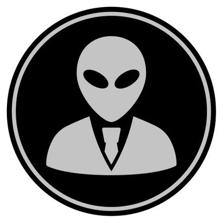 Alien Manager black coin icon. Vector style is a flat coin symbol using black and light gray colors. Illustration