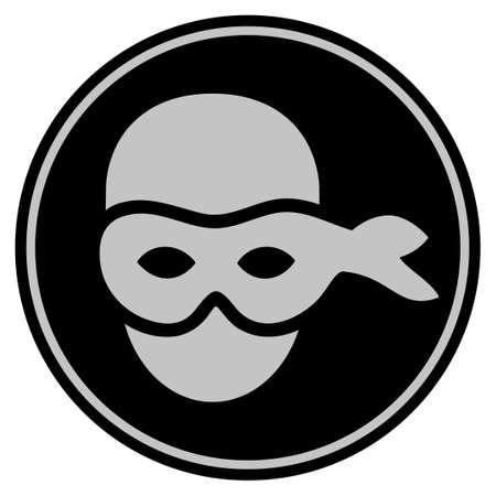 Anonymous Head black coin icon. Vector style is a flat coin symbol using black and light gray colors.