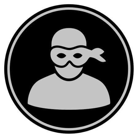 Anonymous Thief black coin icon. Vector style is a flat coin symbol using black and light gray colors.