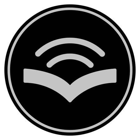 Audiobook black coin icon. Vector style is a flat coin symbol using black and light gray colors.