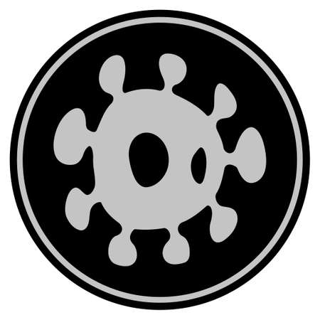 Bacteria black coin icon. Vector style is a flat coin symbol using black and light gray colors.