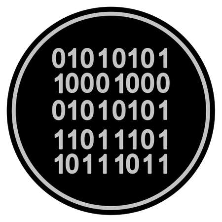 Binary Code black coin icon. Vector style is a flat coin symbol using black and light gray colors. Illusztráció