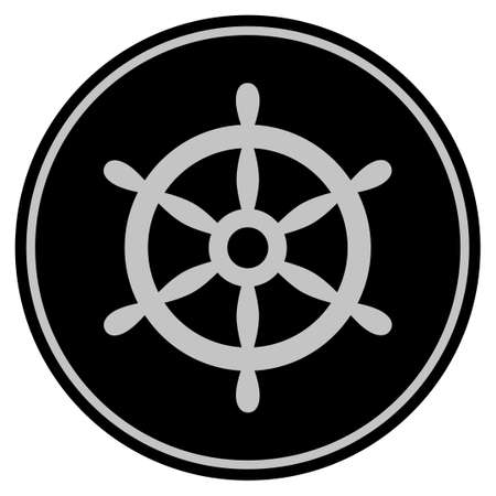 Boat Steering Wheel Vector style in a flat coin symbol using black and light gray colors. Illustration