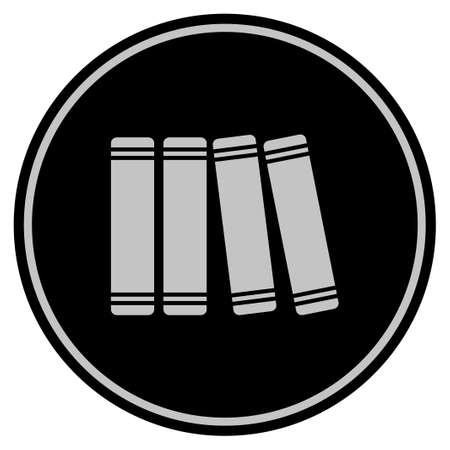 Books black Vector style in a flat coin symbol using black and light gray colors. Illustration