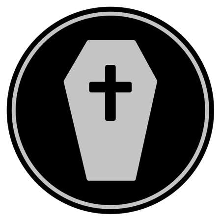 Coffin black coin icon. Vector style is a flat coin symbol using black and light gray colors. Illustration