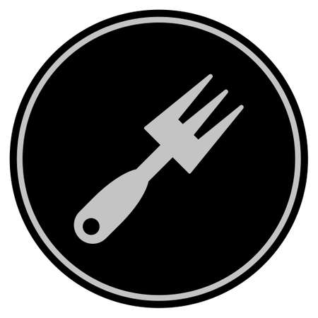 Cultivator Rake black coin icon. Vector style is a flat coin symbol using black and light gray colors.