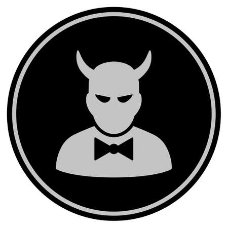 Devil black coin icon. Vector style is a flat coin symbol using black and light gray colors.