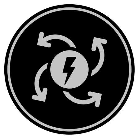 Electric Generator black coin icon. Vector style is a flat coin symbol using black and light gray colors. Illustration