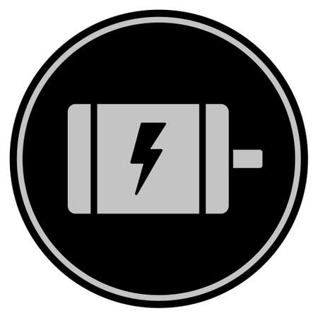 Electric Motor black coin icon. Vector style is a flat coin symbol using black and light gray colors. Illustration