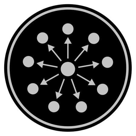 Weite schwarze Vektorart in einem flachen Münzensymbol unter Verwendung der schwarzen und hellgrauen Farben.