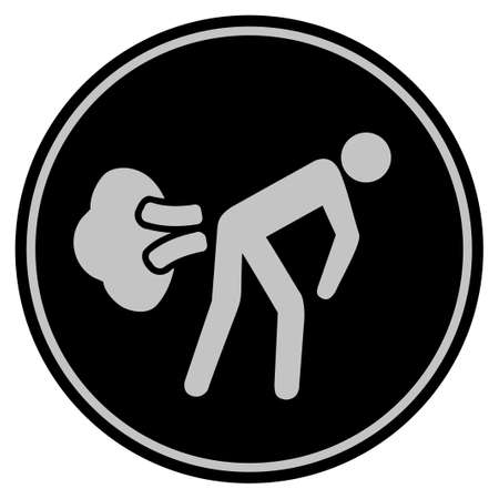 Fart Gases black coin icon. Vector style is a flat coin symbol using black and light gray colors.