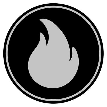 Fire black coin icon. Vector style is a flat coin symbol using black and light gray colors. Illustration